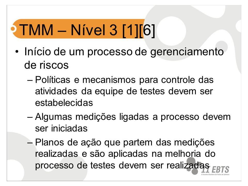 TMM – Nível 3 [1][6] Início de um processo de gerenciamento de riscos